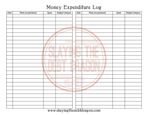 Money Expenditure Log B&W