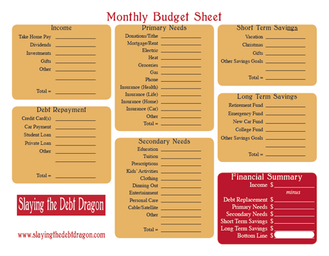 Red & Yellow Budget Form