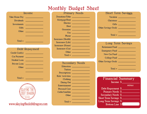 Monthly Budget Sheet Color