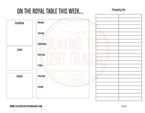 Slaying the Debt Dragon Menu Planner